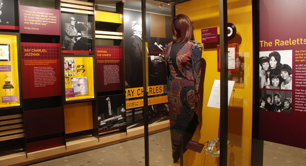 Audio visual installation by MODE Systems in the Ray Charles Museum Raelettes costumes